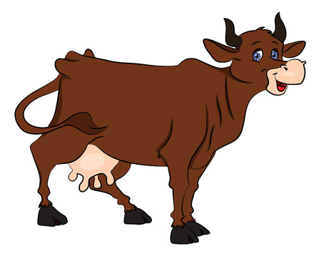 Vector illustration of cow isolated on white background.