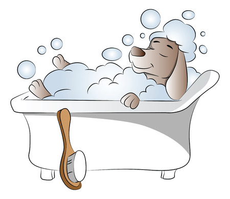 Vector illustration of dog taking bath in bathtub, eyes closed.