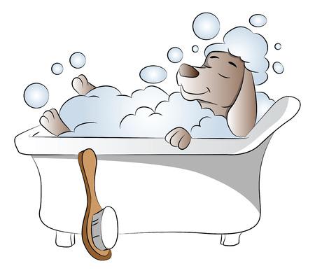 Vector illustration of dog taking bath in bathtub, eyes closed.