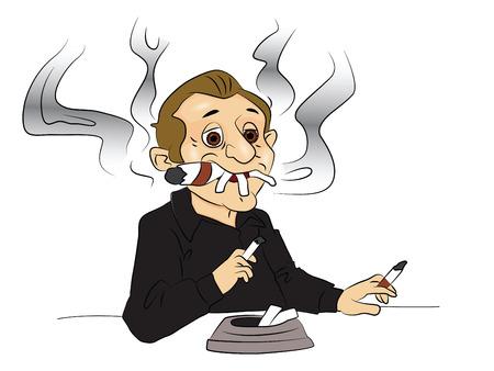 hombre fumando puro: Ilustración del vector del hombre que fuma cigarrillos y citar, cenicero en primer plano.