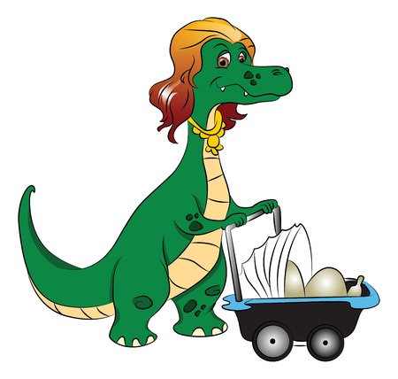 Vector illustration of a careful mother dinosaur pushing with stroller with eggs in it.