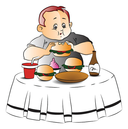 Vector illustration of fat teen boy eating burger at restaurant. Ilustracja