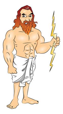 Vector illustration of Greek god wielding a lightning bolt.
