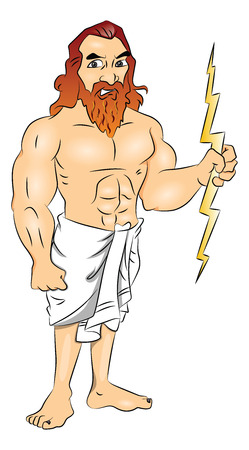 greek god: Vector illustration of Greek god wielding a lightning bolt.