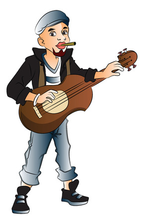 rockstar: Vector illustration of young rockstar playing guitar and smoking cigarette.