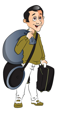 Vector of happy young man carrying luggage. Ilustração