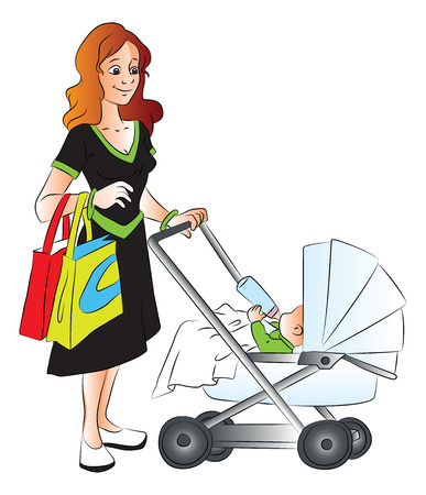 newborn baby mother: Vector illustration of mother holding shopping bags and pushing baby in pram who is drinkig milk.