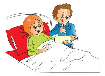 plaster cast: Vector illustration of man writing on happy wifes plaster cast, relaxing on bed. Illustration