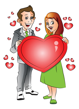 Vector illustration of cheerful young couple with red heart shape symbol.
