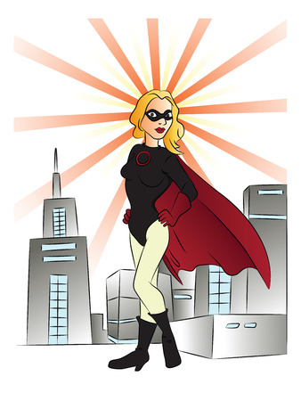 supergirl: Vector illustration of superheroine in front of city buildings.