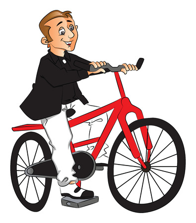 Vector illustration of happy young man riding bicycle.