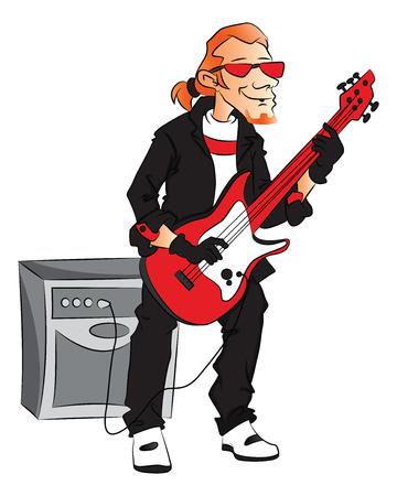 rockstar: Vector illustratie van mannelijke rockstar elektrische gitaar speelt.