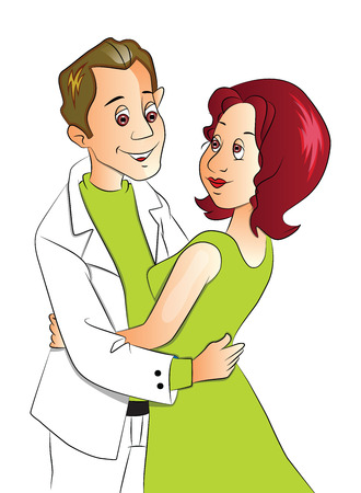 Vector illustration of happy young couple embracing.
