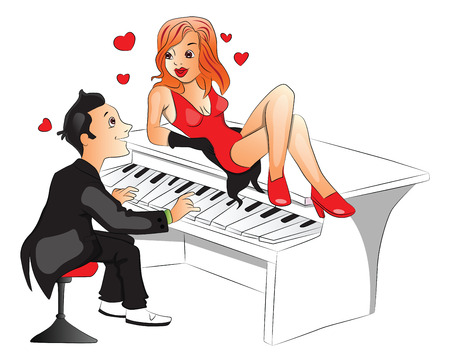 Vector of attractive woman lying on top of a piano while boyfriend plays.