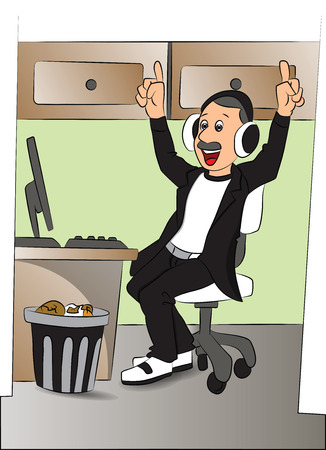 kantoor computer: Vector illustration of happy man listening to music on headphones in front of office computer.