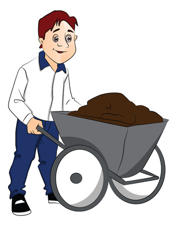 man pushing: Vector illustration of man pushing cement in wheelbarrow.