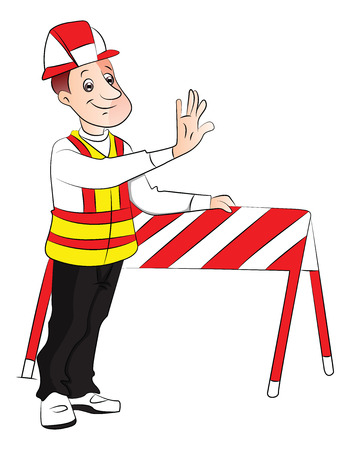 barrier: Vector illustration of engineer giving stop gesture next to a construction barrier.