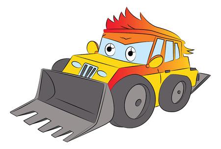 Illustration of front-end loader at construction site.