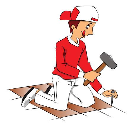 tiled floor: Illustration of repairman hammering nail to remove tiled floor.