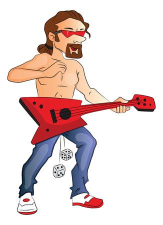 shirtless: Vector illustration of shirtless male rockstar playing guitar.
