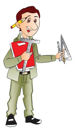 arquitecto caricatura: Vector de arquitecto con herramientas de medición y libro.