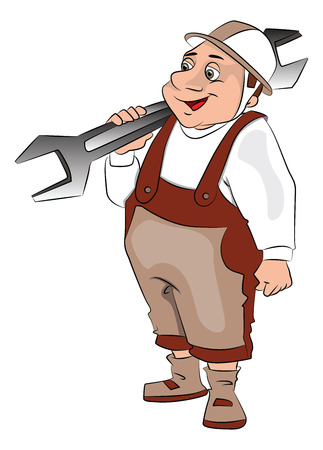 oversize: Vector illustration of fat repairman carrying a big spanner.
