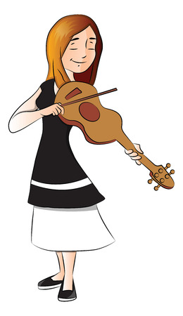 Vector illustration of young woman playing violin. Vector