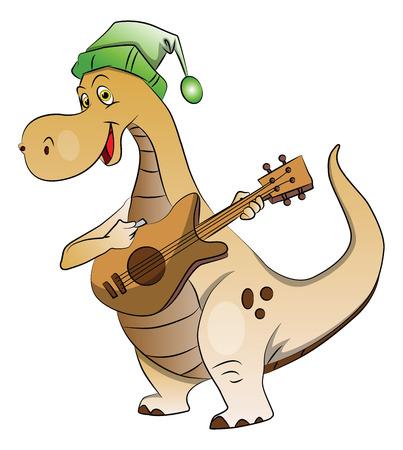 Vector illustration of dinosaur wearing santa hat and playing guitar. Illustration