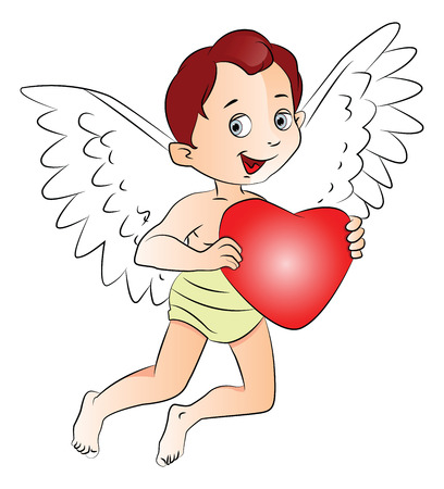 shirtless: Vector illustration of cute fairyboy holding a red heart.