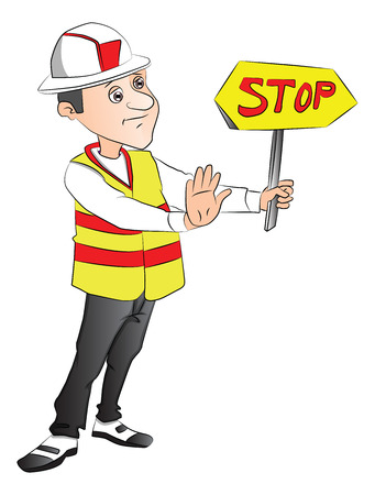 site: Vector of construction worker gesturing and showing stop sign at site. Illustration