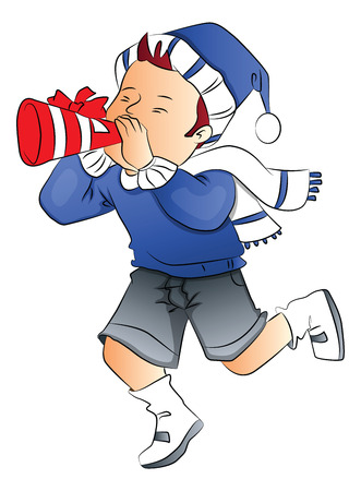party horn blower: Vector illustration of boy wearing santa hat and blowing party horn blower.