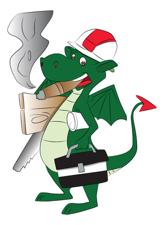 injurious: Vector of a smoking fly dragon carrying repairing tools and bag.