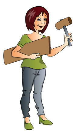 construction: Vector of female construction worker holding hammer and wooden plank. Illustration
