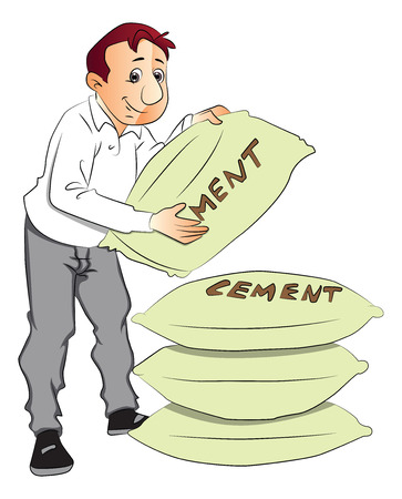 Vector of construction worker holding heavy cement sack. Ilustração