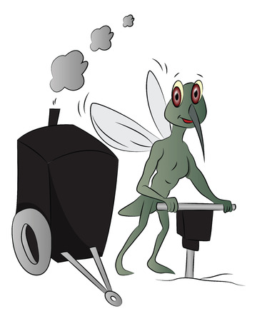 Vector of house-fly using power jackhammer to drill. Ilustracja