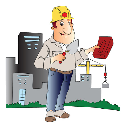 construction worker cartoon: Vector illustration of construction worker with trowel and brick in front of a building.