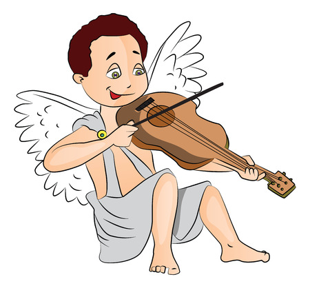 fairytale character: Vector illustration of cute fairy boy playing violin.