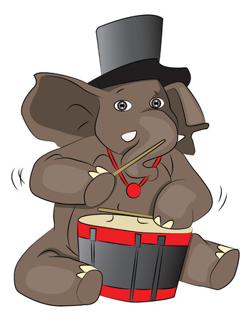 Vector illustration of elephant wearing hat and drumming. Illusztráció