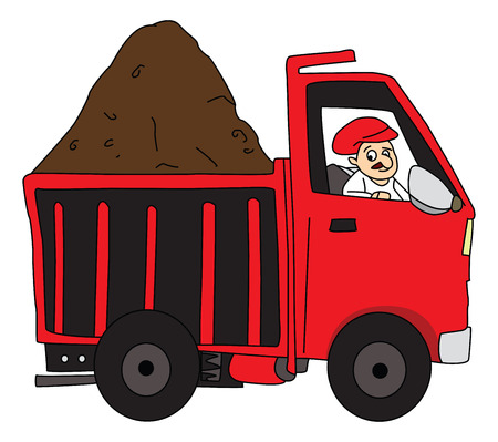 Vector of man carrying truck loaded with mud to construction site.