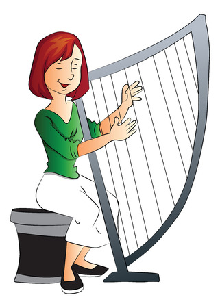 young musician: Vector illustration of beautiful young woman playing harp.