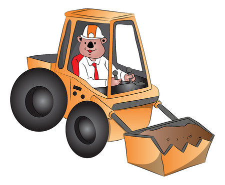 wheeled tractor: Vector illustration of a man driving an excavator.