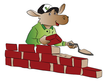 site: Vector illustration of a hippopotamus wearing cap and building a red brick wall.