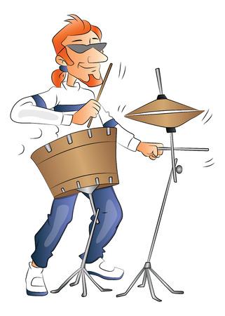 Vector illustration of rockstar playing a drumset. Иллюстрация
