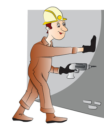 Vector illustration of construction worker drilling the wall with electric drill.