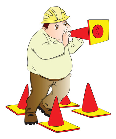 Vector illustration of a fat engineer blowing a construction cone. Çizim