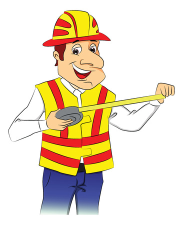 site: Vector illustration of a happy repairman wearing hardhat and holding tape measure.