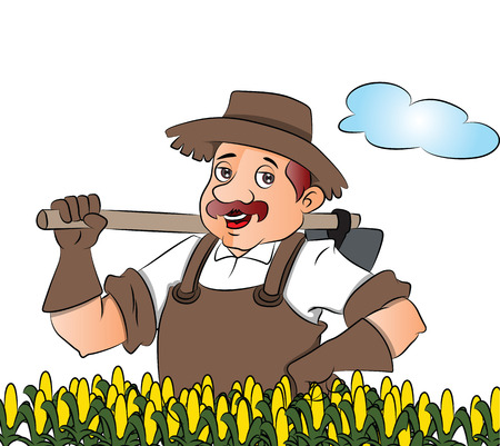 Vector illustration of a gardener with a shovel at field, hand on hip.