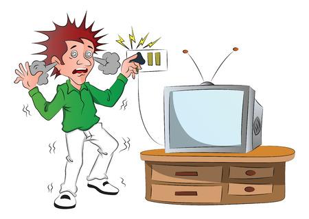 短絡後テレビのスイッチを触れながら電気ショックを受ける少年のベクトル。  イラスト・ベクター素材