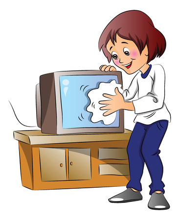 wipe: Vector illustration of happy woman wiping dust on television set.