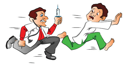 Vector illustration of shocked male patient escaping from the doctor with a syringe.